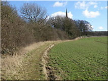 SP9599 : The spire of Wakerley church by Michael Trolove