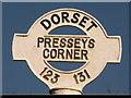 SU1213 : Alderholt: Presseys Corner signpost detail by Chris Downer