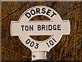 SU0010 : Gussage All Saints: detail of Ton Bridge finger-post by Chris Downer