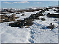 NN8758 : Dry stone wall in need of repair by Russel Wills