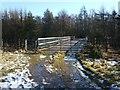 NS8382 : Footbridge over motorway by Lairich Rig