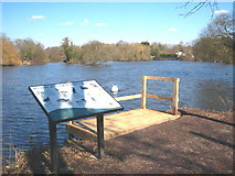 TQ0481 : Information board and fishing platform at Little Britain Lake by Rod Allday