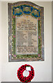 TM1581 : The church of St Andrew in Thelveton - war memorial by Evelyn Simak