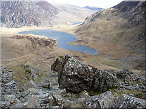 SH6358 : Boulders in the Devil's Kitchen area of Cwm Idwal by Jeremy Bolwell