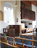 TM1579 : The church of St Andrew in Scole - pulpit and organ by Evelyn Simak