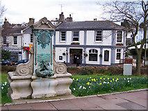 SX9364 : Memorial fountain and pub by Richard Dorrell