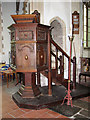 TM1682 : All Saints church in Dickleburgh - Jacobean pulpit by Evelyn Simak