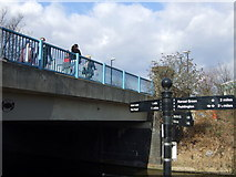 TQ2182 : Finger post  at Old Oak Lane canal bridge by ceridwen