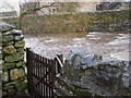 NY7914 : Gate giving access to the beck, Brough by John Lord