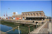 TQ7769 : Impounding station, Chatham Docks by Chris Allen