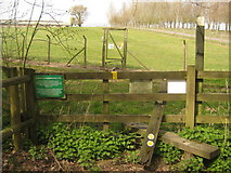 TQ7033 : Footpath junction and stile near Combwell Priory Farm by David Anstiss