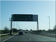 NS4565 : Road Sign  on A737 by Gordon Dowie