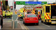 J3475 : Road traffic accident, Belfast (1) by Albert Bridge