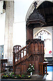 TF5002 : St Peter's church - Victorian pulpit by Evelyn Simak