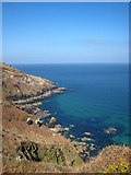 SW4941 : The coastline on Hellesveor Cliff by Rod Allday