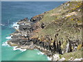 SW4840 : Rocky coast, Pen Enys Point by Philip Halling