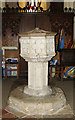 TG1901 : The church of St Mary Magdalen - C15 baptismal font by Evelyn Simak