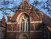 SP2872 : Detail of United Reformed Church, Abbey Hill, Kenilworth by John Brightley