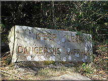 J3629 : Warning signs The Glen River path near Newcastle by HENRY CLARK