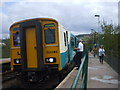 ST1486 : Rhymney-bound train about to leave Aber station, Caerphilly, 4.33pm by John Lord