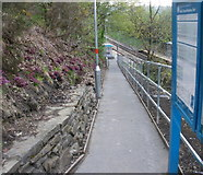 ST1599 : Access ramp, Gilfach Fargoed railway station by Jaggery