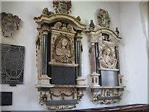 TL4731 : Memorials  to  Margaret  and  Mary  Barley, Clavering parish church. by Derek Voller