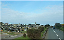 SC2583 : Cemetery beside the A1 near Peel by Chris Gunns