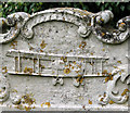 TF8320 : St Mary's church in Rougham - gravestone (detail) by Evelyn Simak