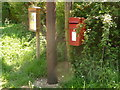 ST6607 : Middlemarsh: postbox № DT9 24 and noticeboard by Chris Downer