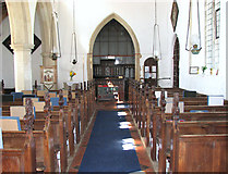 TM1273 : St Mary's church in Yaxley - view west by Evelyn Simak