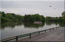 SJ9599 : The boating lake in the rain by Bill Boaden