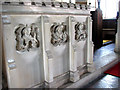 TL8195 : St Peter's church in Ickburgh - stone screen by Evelyn Simak