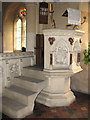 TL8195 : St Peter's church in Ickburgh - stone pulpit by Evelyn Simak