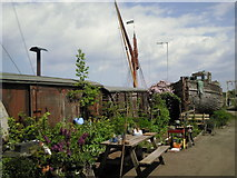 TR0262 : Old railway carriages in boatyard on Faversham Creek by Marathon