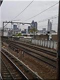 TQ3581 : Train tracks, Shadwell DLR Station by Robin Sones