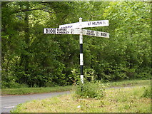 TG1407 : Roadsign on the B1108 Watton Road by Adrian Cable