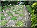 SP2050 : Alscot Park - unusual patterns in paving by John Brightley