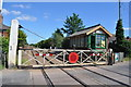 TL9787 : Harling Road Level Crossing and Signal Box by Ashley Dace