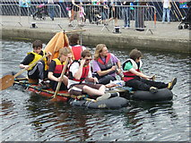 NT2472 : Union Canal Raft Race competitors, Edinburgh Quay by kim traynor