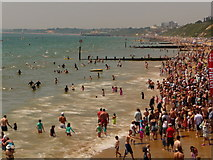 SZ1191 : Boscombe: end of the pier-to-pier swim by Chris Downer