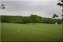TQ3473 : Playing cricket, Dulwich Common Sports Ground by N Chadwick