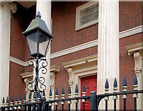 J3473 : Church lamp and railings, Belfast by Albert Bridge