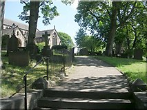 SE1942 : St Oswald's Church Path - The Green by Betty Longbottom