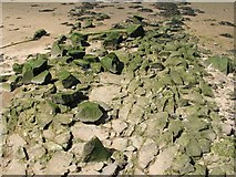 NS4273 : Cobbles on site of supposed Roman Causeway by Lairich Rig