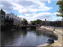 TQ2884 : Camden Lock, viewed from the canal towpath by Robert Lamb