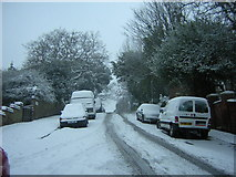 TQ3370 : Fox Hill in the snow, at the entrance to Jenson Way by Christopher Hilton