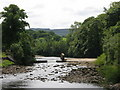 NY6761 : Weir on the River South Tyne by Mike Quinn