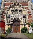 TM3389 : The Catholic church of St Edmund, Bungay - west doorway by Evelyn Simak