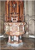 TM3389 : The Catholic church of St Edmund, Bungay - baptismal font by Evelyn Simak