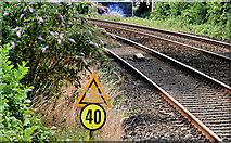 J2766 : Temporary speed restriction sign, Lambeg station by Albert Bridge